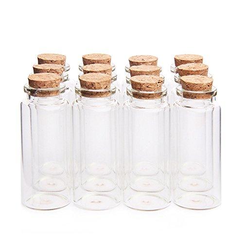 "Danmu 30ml 1.18"" x 2.75"" Mini Glass Bottles, Jars with Wood Cork Stoppers, Tiny Glass Jars, Wishing Bottles, Message Bottle for Wedding Favors, Baby Shower Favors, DIY Craft (12Pcs)"