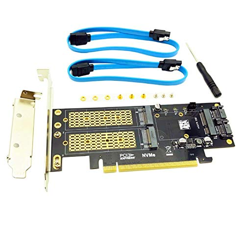3 in 1 NGFF and mSATA SSD Adapter Card M.2 NVME to PCIe 16X/M.2 SATA SSD to SATA III/mSATA to SATA Converter+2 SATA Cable Raiser