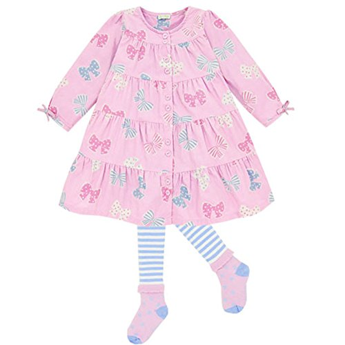 le top Bow-tique Pink Corduroy Dress and Tights Set (9 - Dress Tights Corduroy