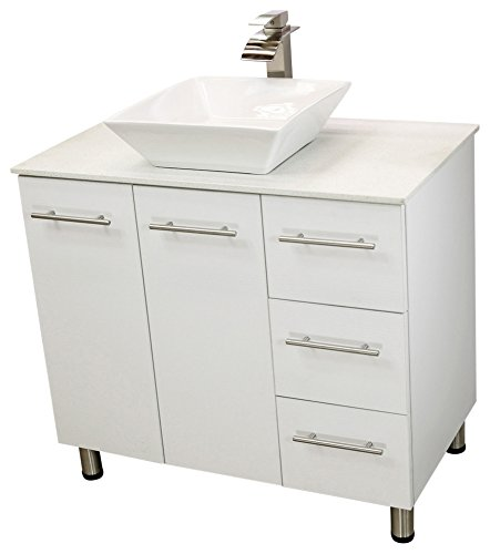 White free-standing vanity with sink.