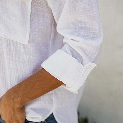 Cotone Casual Calde Tops novità Manica Piebo Donne Lunga Lino Vendite Bianco♫v Maglietta Moda Solido Camicetta Giù Bottone 2018 Elegante fgqxYwA8