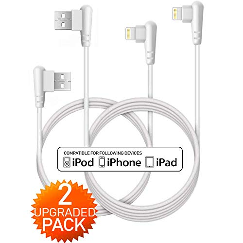 Boost 10FT Phone Charger Cable, 2-Pack 90 Degree Data Cable Line USB Charger Cable Gaming Charging Cable Cord Compatible with iPhone 5/6/7/8/X, iPad and iPod- ()