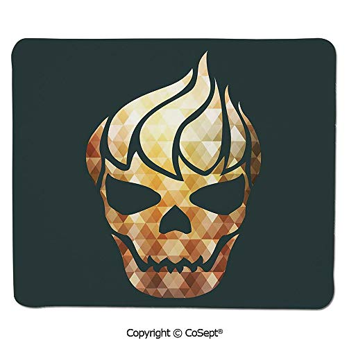 (Gaming Mouse Pad,Gothic Skull with Fractal Effects in Fire Evil Halloween Concept,Non-Slip Water-Resistant Rubber Base Cloth Computer Mouse Mat (11.81