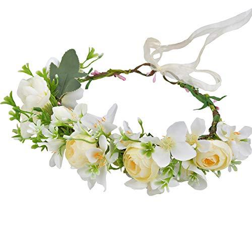 Boho Flower Crown Flower Garland Headband Hair Wreath Floral Headpiece Halo with Ribbon Wedding Party Photos Festival White by Vivivalue