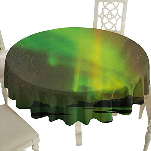 duommhome Aurora Borealis Durable Tablecloth Magical Enchanted Universe Sky with Reflections Tranquil Scenery Easy Care D63 Lime and Reseda -