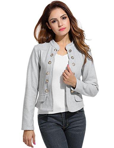 Zeagoo Women Casual Work Office Open Front Button Short Cardigan Blazer Jacket, Gray, - Button Jacket Front Short