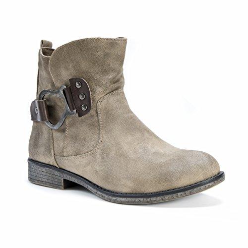 MUK LUKS Women's Hayden Bootie Wheeled Heel Shoe, Beige, 8 Medium US