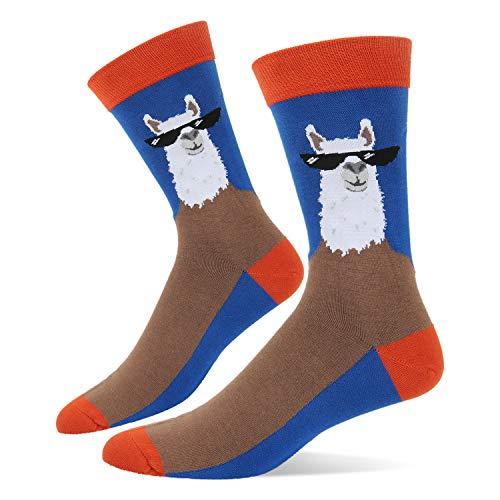 Men's Novelty Funny Llama in glasses Crew Socks Silly Crazy Animal -