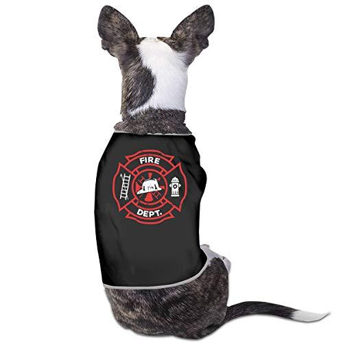 Distressed Firefighter Puppy Costumes Pet Sleeveless Tee Shirt Jacket Sweater -