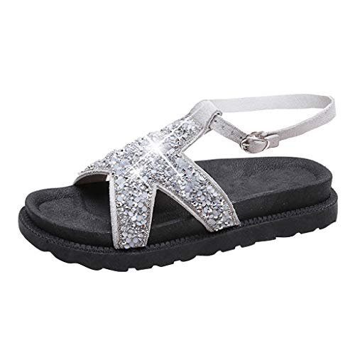 Chunk Bling - Fastbot Women's Summer Sandals Open Toe Casual Comfort Fashioh Square Heels Shoes Ladies Bling Sequined Cloth Round Toe Silver