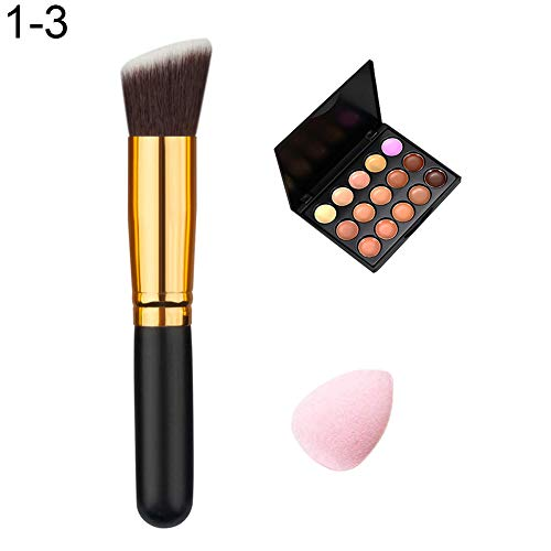 soAR9opeoF Face Concealer,15 Colors Acne Corrector Face Concealer Cream Makeup Brush Powder Puff Set Brushes Makeup Tool 3# 1 -