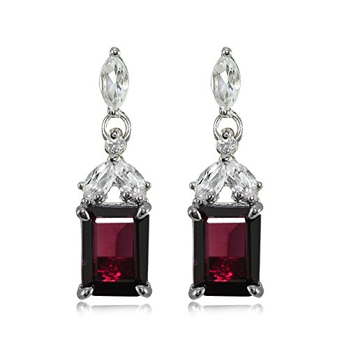 Sterling Silver Garnet and White Topaz Emerald-Cut Dangle Earrings