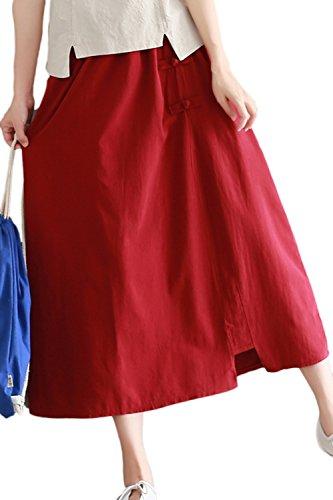 Rtro Dcollet avec Solide Est Maxi Femme Poches Zonsaoja Red Jupe Buttom La Longue qUwxIpBf