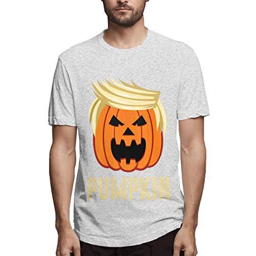 CSDQC Mens Designed Breathable Trumpkin Make Halloween Great Again Short Sleeve Humor T-Shirt Gray S -