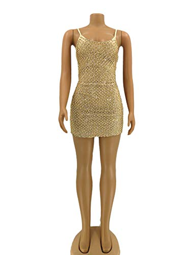 Enosiegoiw Sexy Nightclub Vestito Delle Bodycon Dell'annata Di Golden Backless Paillettes Donne Del Vestiti pGVzMqSU