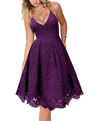 MEROKEETY Women's Lace Floral V Neck Spaghetti Straps Backless Cocktail A-Line Dress for Party Plum]()