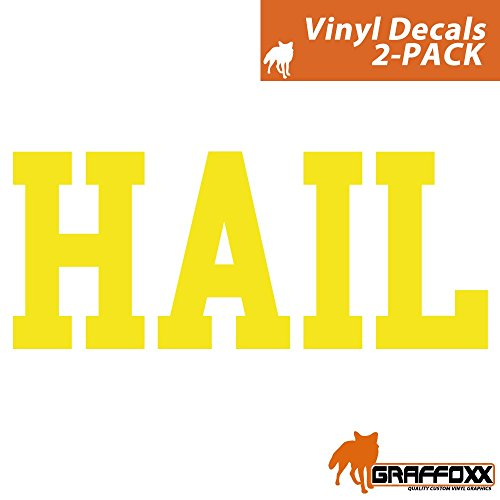 (2-PACK) HAIL University of Michigan Wolverines Saying Slogan Wall and Window Decal - Available in 5 Colors (Yellow) - University Window