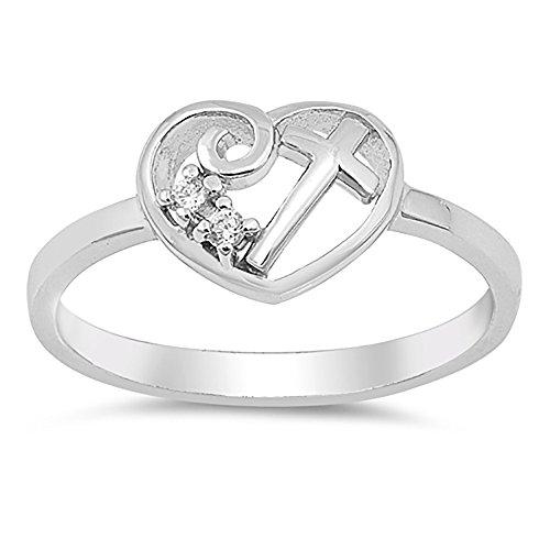 Sterling Silver Clear CZ Cubic Zirconia Cross in Heart Ring