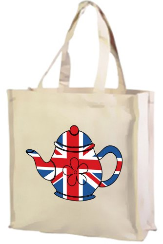 Best of British, Teapot Union Jack Cotton shopping bag cream