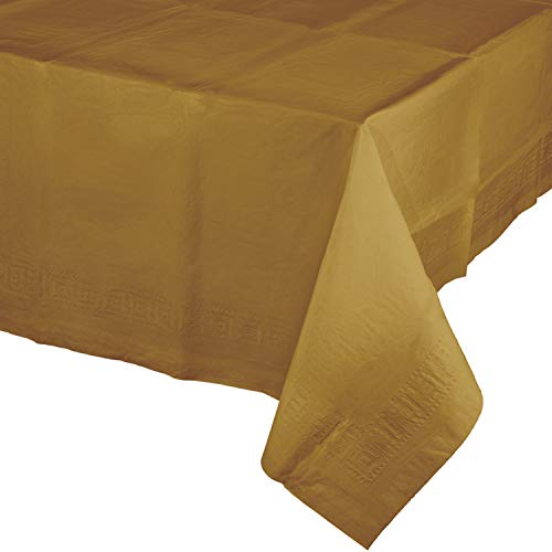 Glittering Gold Plastic Tablecloths, 3 ct