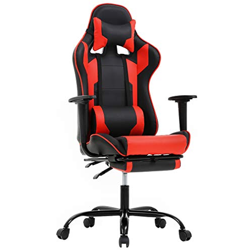 BestMassage Office Chair Gaming Chair Ergonomic Swivel Chair High Back Racing Chair, with Footrest, Lumbar Support and Headrest