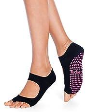 Tucketts Damen-Yoga-Socken, rutschfest, Pilates-Socken mit Noppen, ohne Zehen, rutschfest, für Sport, Ballett, Tanz, Workout, Training – Allegro-Stil Gr. One size, türkis