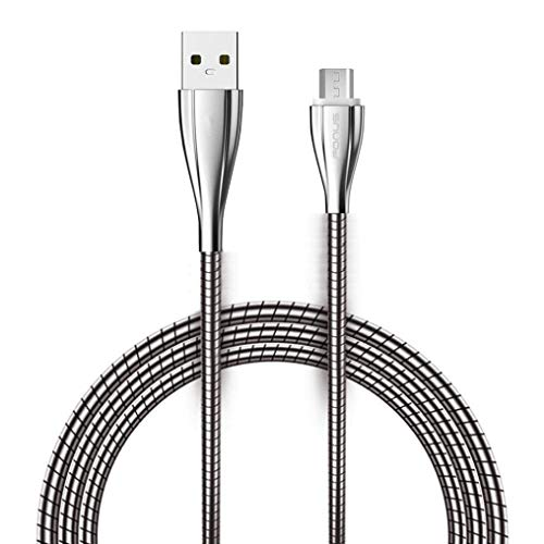 USB Cable Charging Power Sync Cord 6ft Long Metal Braided Mi