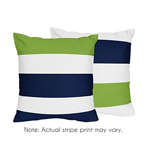 (Sweet Jojo Designs Navy Blue, Lime Green and White Decorative Accent Throw Pillows for Stripe Collection - Set of 2)