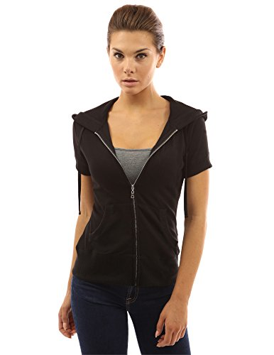 chaqueta la cremallera Mujer de PattyBoutik de corta sudadera Negro la capucha de con manga zdw8dYq