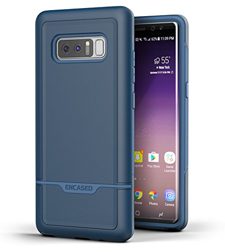 Galaxy Note 8 Tough Case - Encased (Rebel Series) Excellent Drop Protection w/TPU Bumper for Samsung Note 8 Phone (Navy Blue)