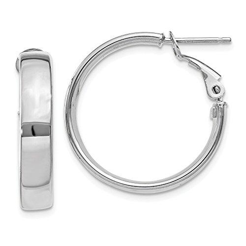 14k 5mm White Gold Omega Back Hoop Earrings Ear Hoops Set Fine Jewelry Gifts For Women For Her