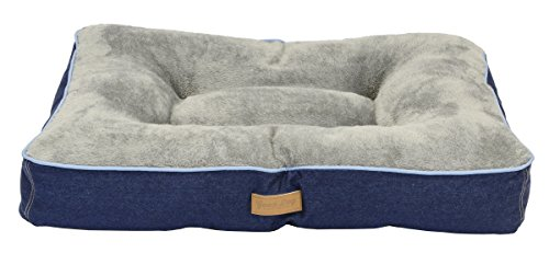 Dallas Manufacturing Co. 36'' x 26'' large Gusset Dog Bed, Denim with Blue Piping by Dallas Manufacturing Co.