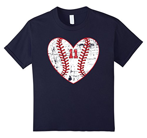 Distressed Heart (unisex-child Baseball Distressed Heart Number 11 T-Shirt Sports Gift 12 Navy)