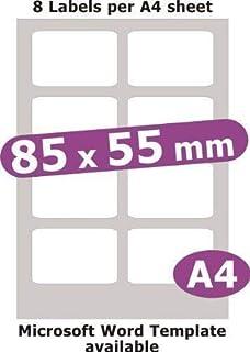 weiß Papier selbstklebend 500 Blatt 5000 Etiketten A4 Bogen 85 x 55 mm