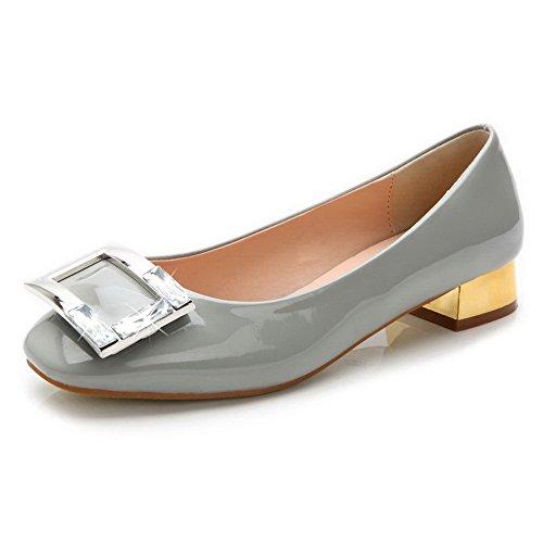 AalarDom Mujer Puntera Cuadrada Mini Tacón Material Suave Sólido De salón Gris-Diamante de Imitación