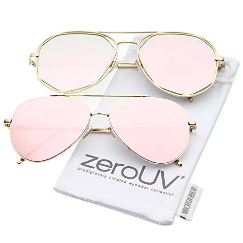 zeroUV - Mod Fashion Teardrop Rimless Mirror Flat Lens Metal Frame Aviator Sunglasses 58mm 太阳镜