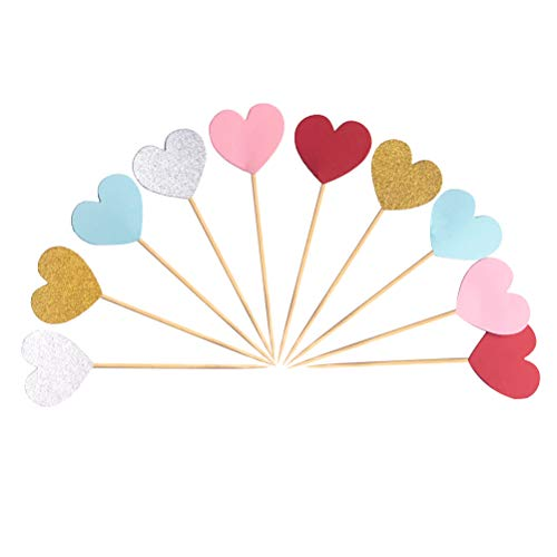 SELIFY 60pcs Heart Shaped Cupcake Toppers Wedding Birthday Party Decoration
