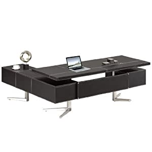 Chef bureau meubles de bureau en cuir noir bureau poste de travail Bari droite neuf de haute qualité