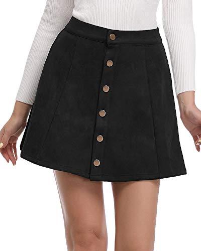 Argstar Womens Faux Suede Button Closure A-Line Mini Short Skirt, Black, Large ()