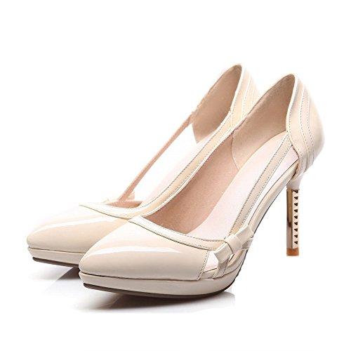 Amoonyfashion Femmes Pull-on Pointu Fermé Talons Hauts Pu Chaussures-chaussures Solides Beige