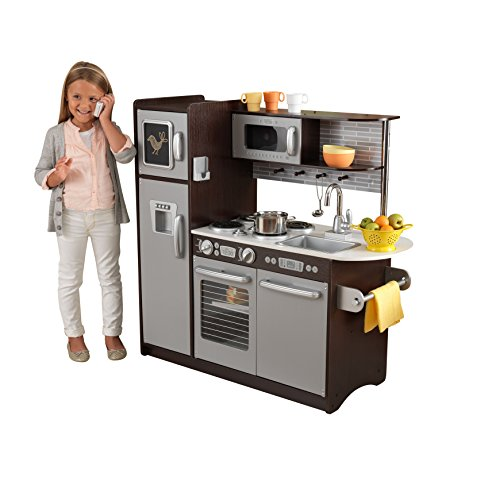 KidKraft Uptown Espresso Pretend Play Kids Wooden Kitchen w/