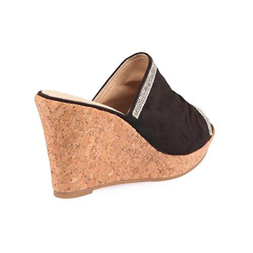 La Modeuse-Base de zapatillas con cuña de corcho Negro - negro