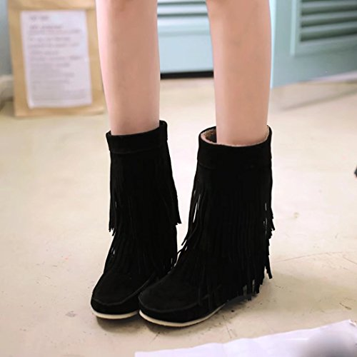Increasing Booties boots Round Slip Flat AIYOUMEI Tassel Women's Hight with Toe Autumn Winter ankle on Black 4SqXpwX