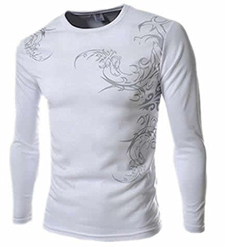 TIANJM Mens Stylish Print Long Sleeve Slim Fit T Shirts WhiteMedium Debonaire (And Hampshire Leather Lace New)