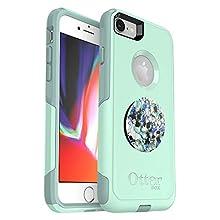Bundle: OtterBox Commuter Series Case for iPhone 8 & iPhone 7 (NOT Plus) - (Ocean Way) + PopSockets PopGrip - (Serpentine Granite)