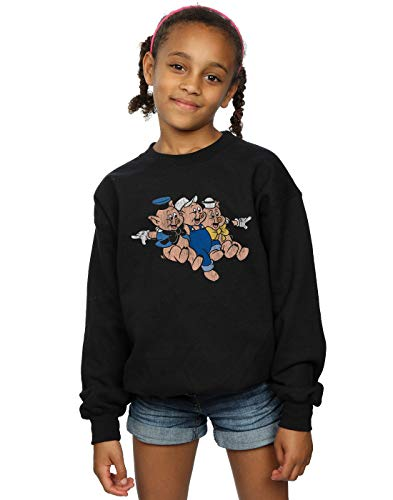 Disney Girls Three Little Pigs Jump Sweatshirt Black 5-6 Years