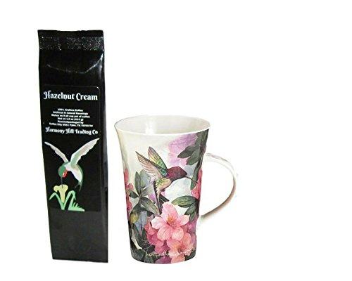 Hummingbird and Pink Azalea Flowers Coffee Mug Cup with Hazelnut Cream Coffee Gift Set 2 Item - Azalea Cup