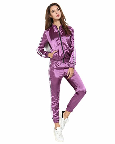 gagaopt 2 Piece Tracksuit Set Women Jacket and Pants Set Jogger Outfit (Purple Womens Tracksuit)