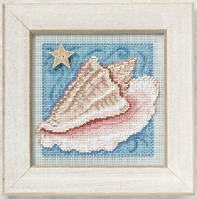 Genuine White Sea Glass (Conch Shell - Cross Stitch Kit)