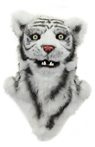 White Tiger Costume Head (Elope Mouth Mover White Tiger Mask)